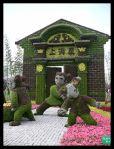 Topiarios de personajes de musgo de sphagnum (China)